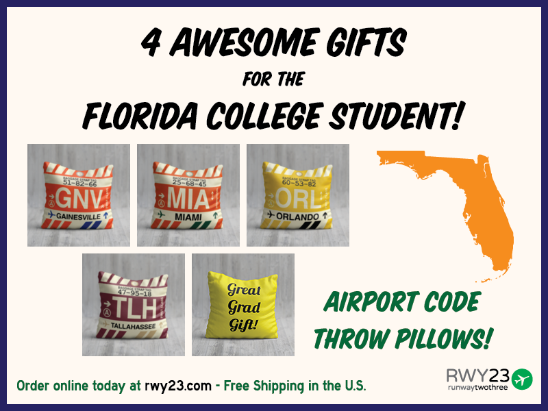 b104bd6b9b7 Florida College Student Graduation Gifts Airport Code Throw Pillows