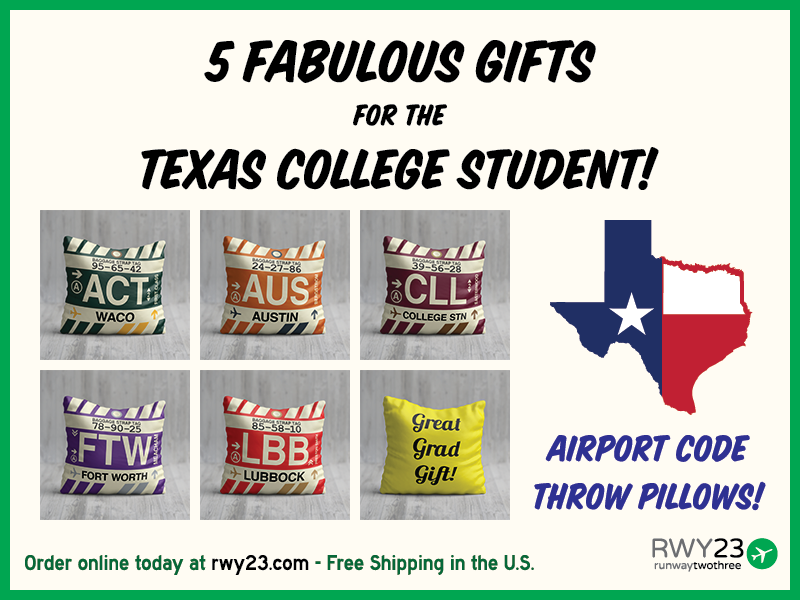 2f9a95e1b4a Texas College Student Graduation Gifts Airport Code Throw Pillows