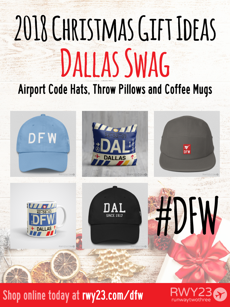2018 Christmas Gift Ideas – DFW and DAL Dallas Airport Code Swag – RWY23