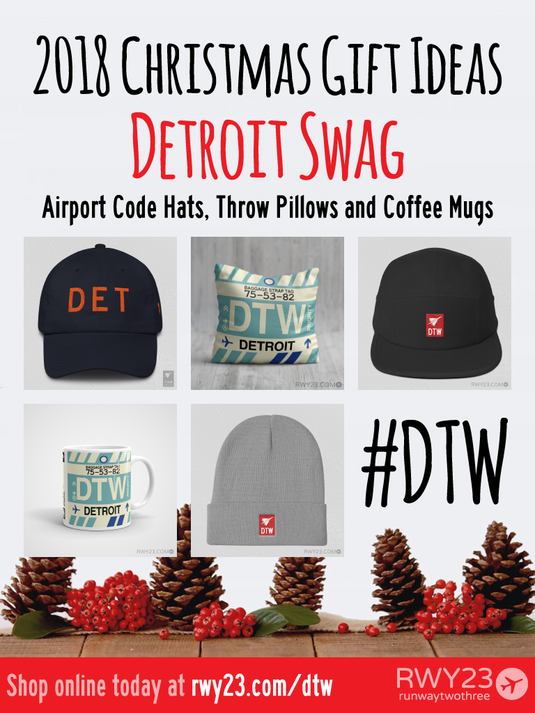 2018 Christmas Gift Ideas – DTW and DET Detroit Airport Code Swag – RWY23