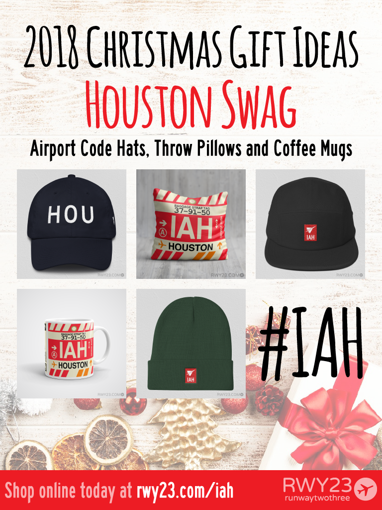 2018 Christmas Gift Ideas – IAH and HOU Houston Airport Code Swag – RWY23