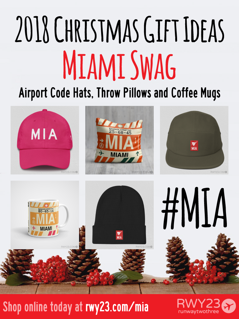 2018 Christmas Gift Ideas – MIA Miami Airport Code Swag – RWY23