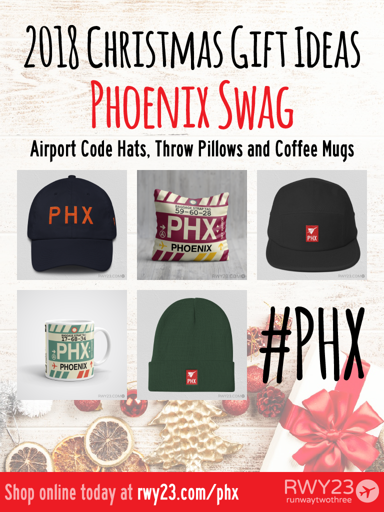 2018 Christmas Gift Ideas – PHX Phoenix Airport Code Swag – RWY23