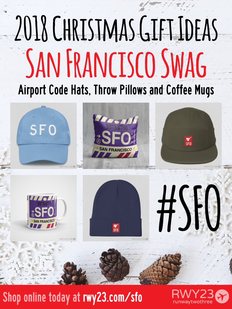 2018 Christmas Gift Ideas – SFO San Francisco Airport Code Swag – RWY23